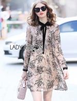เสื้อผ้าแฟชั่นเกาหลี Lady Ribbon's Made Lady Leslie Printed Chiffon with Black Velvet Ribbon Mini Dress