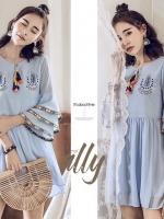 เสื้อผ้าแฟชั่นเกาหลี Normal Ally Present Embroidered Bohemian style dress