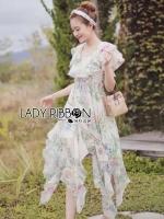 Lady Ribbon's Made Lady Leandra Magic Garden Ruffle Printed Chiffon Dress