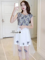 เสื้อผ้าแฟชั่นเกาหลี Lady Ribbon Thailand Korea Design By Lavida Blossom embroidery hollow lace dress code8099
