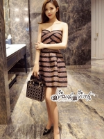 เสื้อผ้าแฟชั่นเกาหลี Lady Ribbon Thailand LUXURY by Seoul Secret ...Tie Minidress Stripes Crystal Layer Black Gorgeously