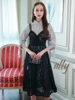 เสื้อผ้าแฟชั่นเกาหลี Lady Ribbon Thailand Normal Ally Dress shirt and lace and pearl dress set