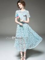 เสื้อผ้าแฟชั่นเกาหลี Sweet Bunny Present... Blue Lace Dress With Dragonfly Brooch