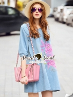 Seoul Secret Say's... Pastel Fink Paint Denim Dress