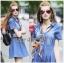 Lady Ribbon Korea Denim Dress LR18130616 &#x1F380 Lady Ribbon's Made &#x1F380 Lady Erin Casual Denim Shirt Dress with Printed Satin Scarf thumbnail 1