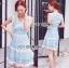 Lady Ribbon เสื้อผ้าเกาหลี LR01110716 &#x1F380 Lady Ribbon's Made &#x1F380 Lady Ariana Sweet Feminine White and Blue Lace Dress เดรสผ้าลูกไม้ thumbnail 1