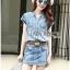 เสื้อผ้าเกาหลี LR11110716 &#x1F380 Lady Ribbon's Made &#x1F380 Lady Cindy Little Western Cowboy Denim Shirt and Shorts Set with Belt thumbnail 5