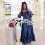 Lady Ribbon's Made &#x1F380 Lady Rosie Rose Embroidered Off-Shoulder Boho Flamengo Denim Maxi Dress เ thumbnail 6