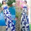 Lady Ribbon's Made &#x1F380 Lady Grace Sexy Elegant White and Blue Printed Cut-Out Back Maxi Dress thumbnail 1