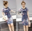 Lady Ribbon Korea Denim Dress LR08130616 &#x1F380 Lady Ribbon's Made &#x1F380 Lady Michelle Arty Laser-Cut Floral T-Shirt and Painted Denim Overall Set thumbnail 1