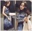 Lady Ribbon Korea LR11190516 &#x1F380 Lady Ribbon's Made &#x1F380 Lady Korea Daria Mysterious Printed Shirt Maxi Dress with Black Lace Corset thumbnail 1