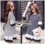 Lady Ribbon Korea Dress LR06200616 &#x1F380 Lady Ribbon's Made &#x1F380 Lady Aurelie Striped Jersey Cotton Dress with Pleated Chiffon Trims เ thumbnail 1