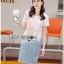 Lady Ribbon Korea Denim Dress Korea LR18300616 &#x1F380 Lady Ribbon's Made &#x1F380 Lady Tamara Street Chic Sequin Embroidered Jersey and Denim Dress thumbnail 3