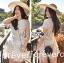 Lady Ribbon's Made &#x1F380 Lady Elizabeth Sweet Feminine Layered Mini Lace Dress in White thumbnail 2