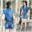 เสื้อผ้าเกาหลี LR11110716 &#x1F380 Lady Ribbon's Made &#x1F380 Lady Cindy Little Western Cowboy Denim Shirt and Shorts Set with Belt thumbnail 2