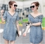 Lady Ribbon's Made &#x1F380 Lady Laura Sext Casual Deep V-Neck Denim Dress thumbnail 2