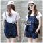 Lady Ribbon Korea Korea LR05300616 &#x1F380 Lady Ribbon's Made &#x1F380 Lady Kate Fashionable Street T-Shirt and Denim Full Set thumbnail 1