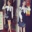 Lady Ribbon Korea Brand SV13060616 Cool Item-Restock &#x1F389Sevy Ribbon Neck Long Sleeve Contrast Bust Mini Dress thumbnail 1