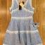 Lady Ribbon เสื้อผ้าเกาหลี LR01110716 &#x1F380 Lady Ribbon's Made &#x1F380 Lady Ariana Sweet Feminine White and Blue Lace Dress เดรสผ้าลูกไม้ thumbnail 5