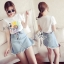 Brand Sevy Two Pieces Of Sunflower T-Shirt With Denim Skirt thumbnail 1
