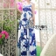 Lady Ribbon's Made &#x1F380 Lady Grace Sexy Elegant White and Blue Printed Cut-Out Back Maxi Dress thumbnail 6
