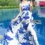 Lady Ribbon's Made &#x1F380 Lady Grace Sexy Elegant White and Blue Printed Cut-Out Back Maxi Dress thumbnail 3