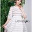 Lady Ribbon Korea Mini Dress LR19130616 &#x1F380 Lady Ribbon's Made &#x1F380 Lady Jessica Sweet and Pretty Embroidered Striped Mini White Dress thumbnail 4