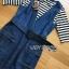 Chic Striped Top and Denim Lady Ribbon Dress thumbnail 5