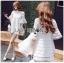 Lady Ribbon Korea Mini Dress LR19130616 &#x1F380 Lady Ribbon's Made &#x1F380 Lady Jessica Sweet and Pretty Embroidered Striped Mini White Dress thumbnail 1