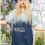 Lady Ribbon เสื้อผ้าเกาหลี LR10110716 &#x1F380 Lady Ribbon's Made &#x1F380 Lady Marina Cut-Out Pearl Embroidered Ombre Denim Dress เดรสผ้าเดนิม thumbnail 2