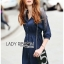 Lady Ribbon Korea Dress LR10060616 &#x1F380 Lady Ribbon's Made &#x1F380 Lady Natalie Minimal Chic Crystal Embroidered Organza and Denim Cotton Shirt Dress thumbnail 4
