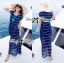 &#x1F380 Lady Ribbon's Made &#x1F380 Lady Ribbon Blue & White Stripe Pleatpleats Maxi Dress Korea thumbnail 1