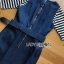 Chic Striped Top and Denim Lady Ribbon Dress thumbnail 6