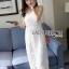 Lady Ribbon Dress LR08300516 &#x1F380 Lady Ribbon's Made &#x1F380 Lady Lauren Sweet Feminine Lace Maxi Slip Dress in White เดรสยาว thumbnail 3