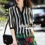 Lady Ribbon Closet Design Seoul Secret Say's... Chic Stripy Flora Print Shirt Dress thumbnail 2