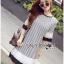 Lady Ribbon Korea Dress LR06200616 &#x1F380 Lady Ribbon's Made &#x1F380 Lady Aurelie Striped Jersey Cotton Dress with Pleated Chiffon Trims เ thumbnail 2