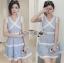 Lady Ribbon เสื้อผ้าเกาหลี LR01110716 &#x1F380 Lady Ribbon's Made &#x1F380 Lady Ariana Sweet Feminine White and Blue Lace Dress เดรสผ้าลูกไม้ thumbnail 2