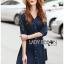 Lady Ribbon Korea Dress LR10060616 &#x1F380 Lady Ribbon's Made &#x1F380 Lady Natalie Minimal Chic Crystal Embroidered Organza and Denim Cotton Shirt Dress thumbnail 2