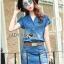 เสื้อผ้าเกาหลี LR11110716 &#x1F380 Lady Ribbon's Made &#x1F380 Lady Cindy Little Western Cowboy Denim Shirt and Shorts Set with Belt thumbnail 4