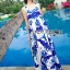 Lady Ribbon's Made &#x1F380 Lady Grace Sexy Elegant White and Blue Printed Cut-Out Back Maxi Dress thumbnail 4
