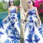 Lady Ribbon's Made &#x1F380 Lady Grace Sexy Elegant White and Blue Printed Cut-Out Back Maxi Dress thumbnail 2