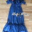 Lady Ribbon's Made &#x1F380 Lady Rosie Rose Embroidered Off-Shoulder Boho Flamengo Denim Maxi Dress เ thumbnail 7