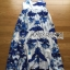Lady Ribbon's Made &#x1F380 Lady Grace Sexy Elegant White and Blue Printed Cut-Out Back Maxi Dress thumbnail 11