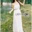 Lady Ribbon Dress LR08300516 &#x1F380 Lady Ribbon's Made &#x1F380 Lady Lauren Sweet Feminine Lace Maxi Slip Dress in White เดรสยาว thumbnail 4