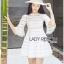 Lady Ribbon Korea Mini Dress LR19130616 &#x1F380 Lady Ribbon's Made &#x1F380 Lady Jessica Sweet and Pretty Embroidered Striped Mini White Dress thumbnail 3