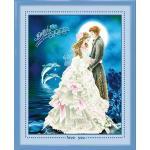 ชุดปักครอสติช ลายวันแต่งงาน 3D ขนาด 60*73 ซม.ผ้าครอสติช 11CTพิมพ์ลายปักที่คู่บ่าวสาว ไหมคอตตอน 40 สี ผังลาย เข็ม