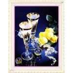 ชุดปักครอสติช ลายช่อกุหลาบเหลืองคู่แก้วแชมเปญ (งานปักเต็มลาย) ขนาด 55*61 ซม.ผ้าครอสติช 11CTพิมพ์ลายปักเต็มลายผ้า ไหมคอตตอน 58 สี ผังลาย