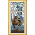 ชุดปักครอสติช ลายแมวน้อยริมหน้าต่าง ( งานปักเต็มลาย ) ขนาด 36*70 ซม.ผ้าครอสติช 11CTพิมพ์ลายปักเต็มลายผ้า ไหมคอตตอน 36 สี ผังลาย เข็ม