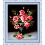 ชุดปักครอสติช ลายแจกันดอกกุหลาบ (งานปักเต็มลาย) ขนาด 63*83 ซม.ผ้าครอสติช 11CTพิมพ์ลายปักเต็มลายผ้า+ไหมคอตตอน 42 สี+ผังลาย+เข็ม