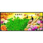 ชุดภาพติดคริสตัลกลม ลายคู่นกยูงในสวนดอกไม้มงคล (งานติดเต็มภาพ) ขนาด 120*50 ซม. คริสตัลกลม 45 สี อุปกรณ์ครบชุด